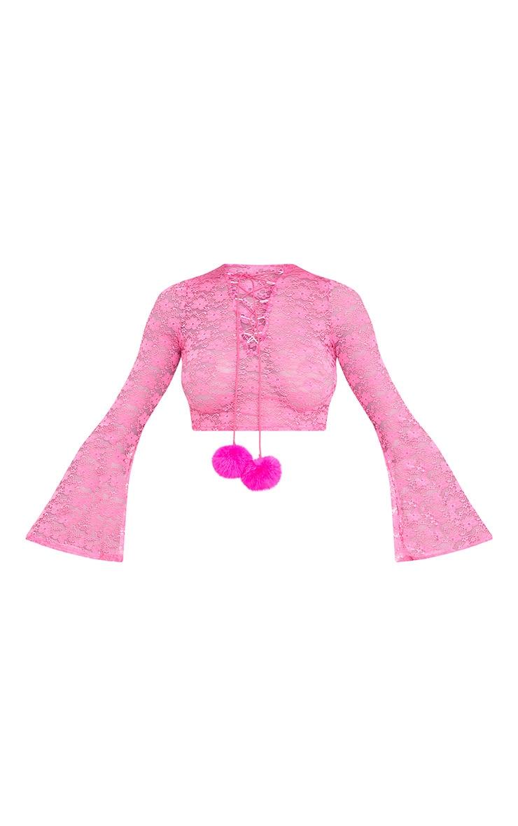 Izobell Pink Lace Pom Pom Top  4