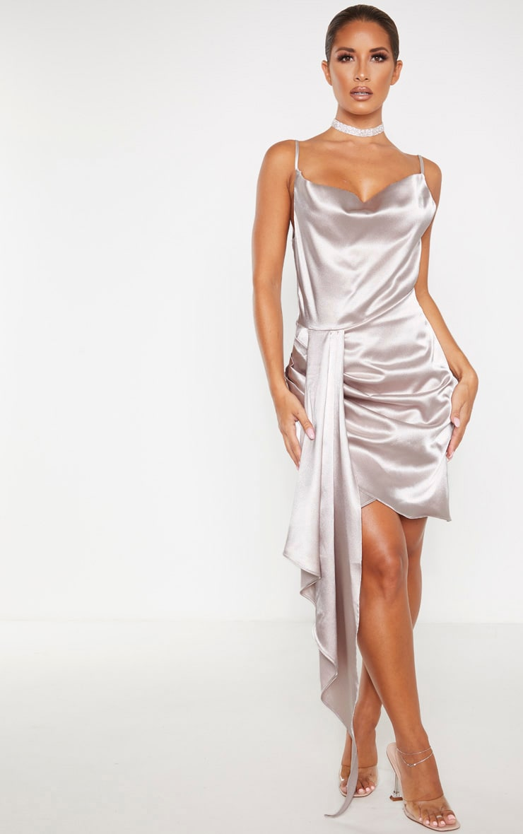 Ecru Satin Cowl Drape Bodycon Dress 1