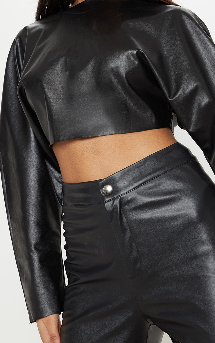Black Faux Leather Crop Sweater 5