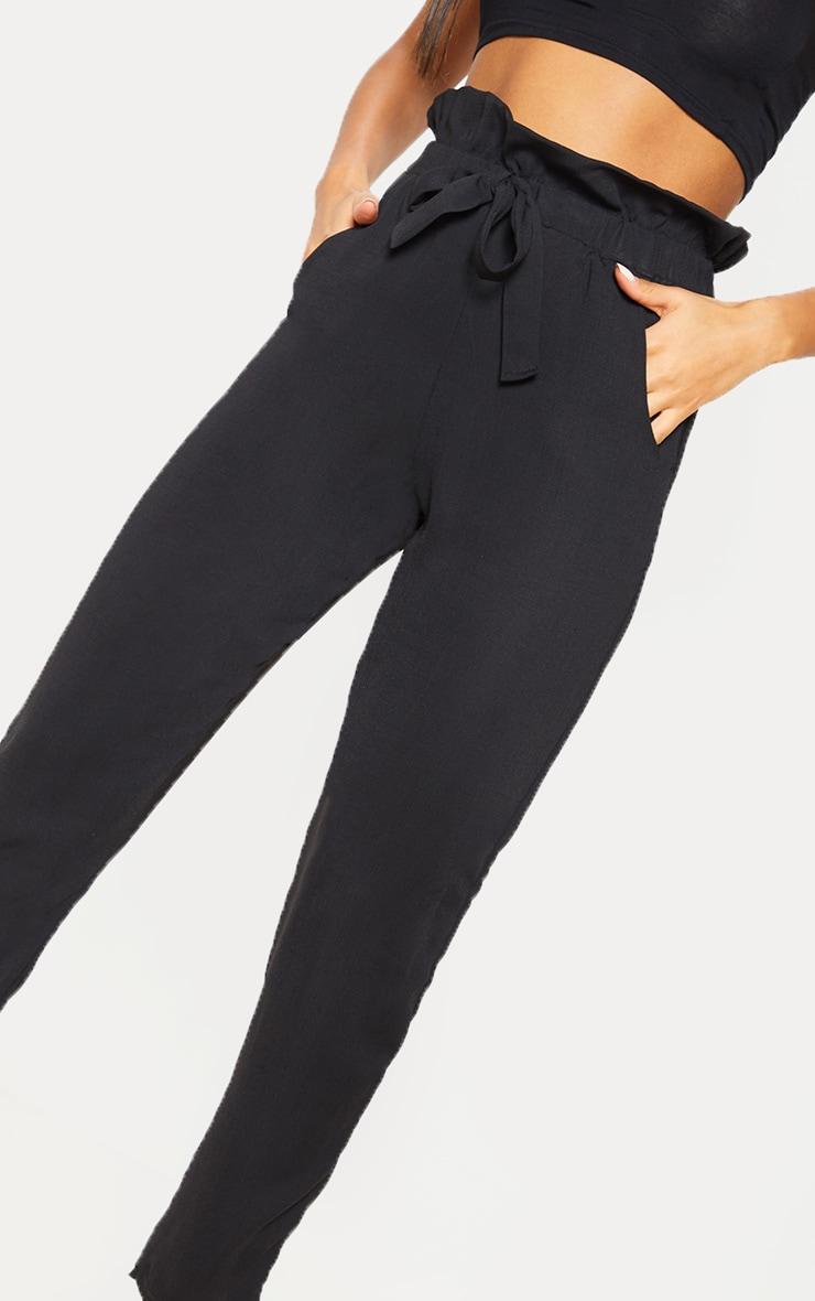 Black Tie Waist Paperbag Skinny Pants 5