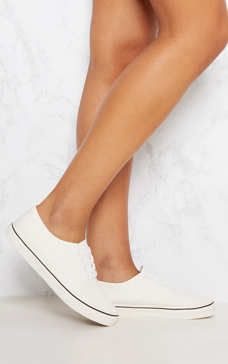 White Lace Up Flat Pump  1