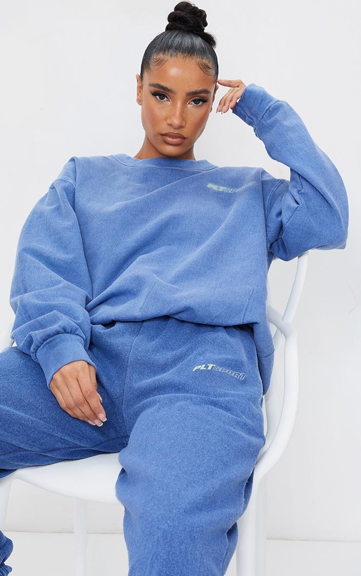 PRETTYLITTLETHING Blue Oversized Sport Sweatshirt 1