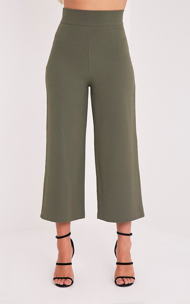 Tazmin Khaki High Waisted Culottes 2