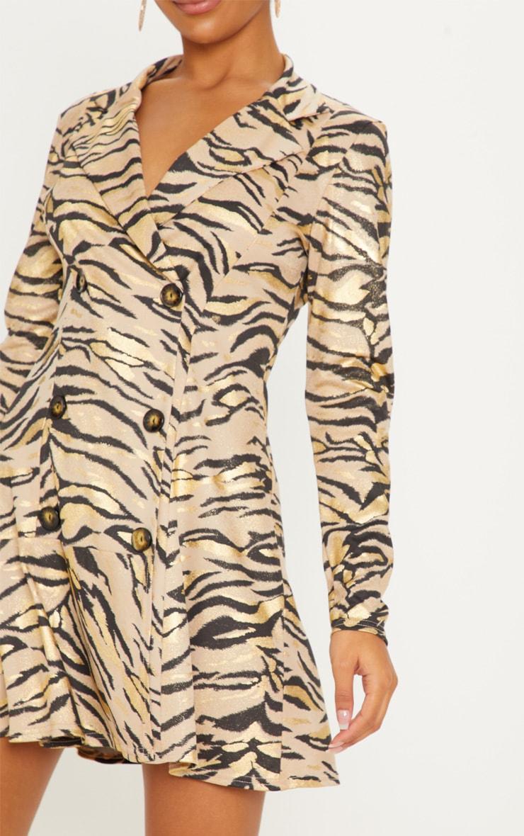 Stone Metallic Tiger Print Blazer Dress 5