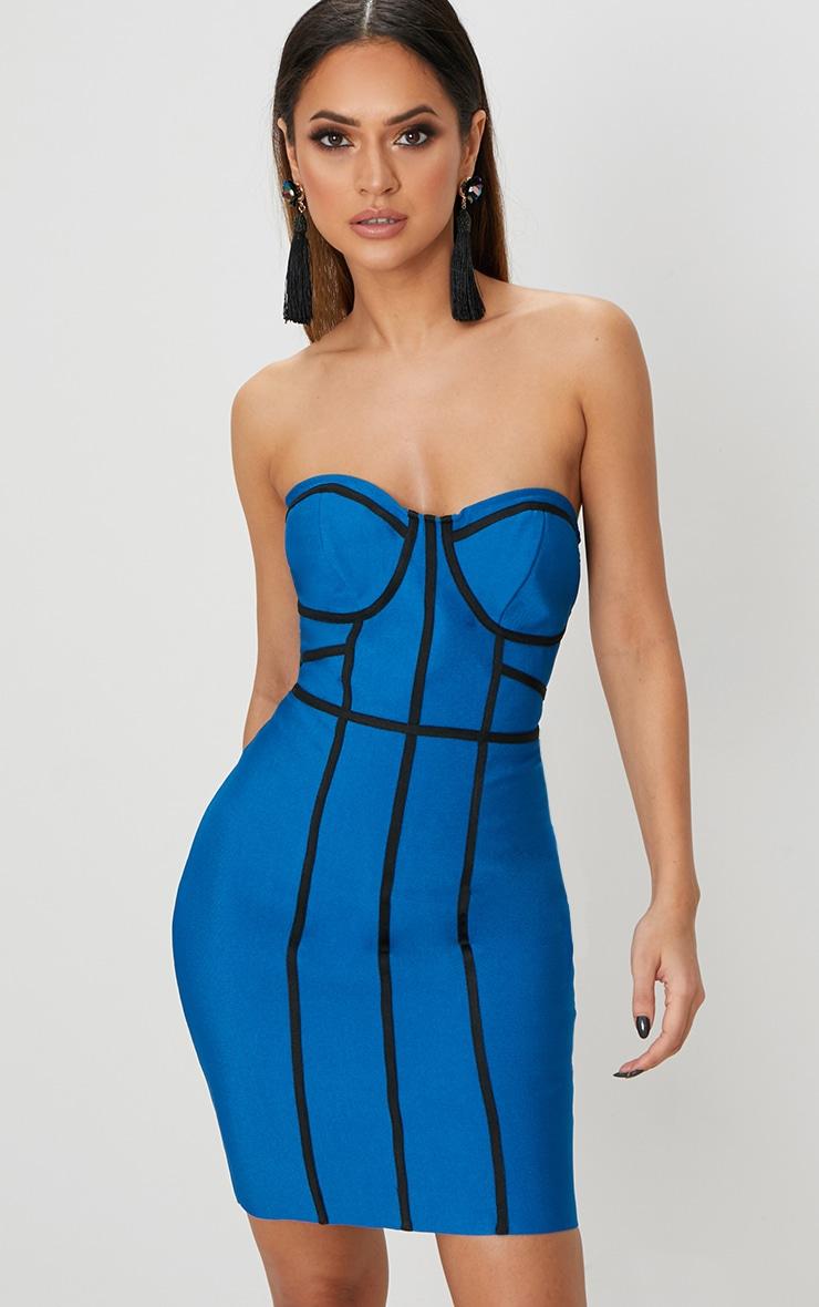 Robe bandeau moulante bleue à bandes noires contrastées 1