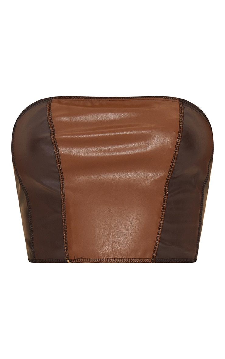 Chocolate Brown Faux Leather Panelled Bandeau Top 5