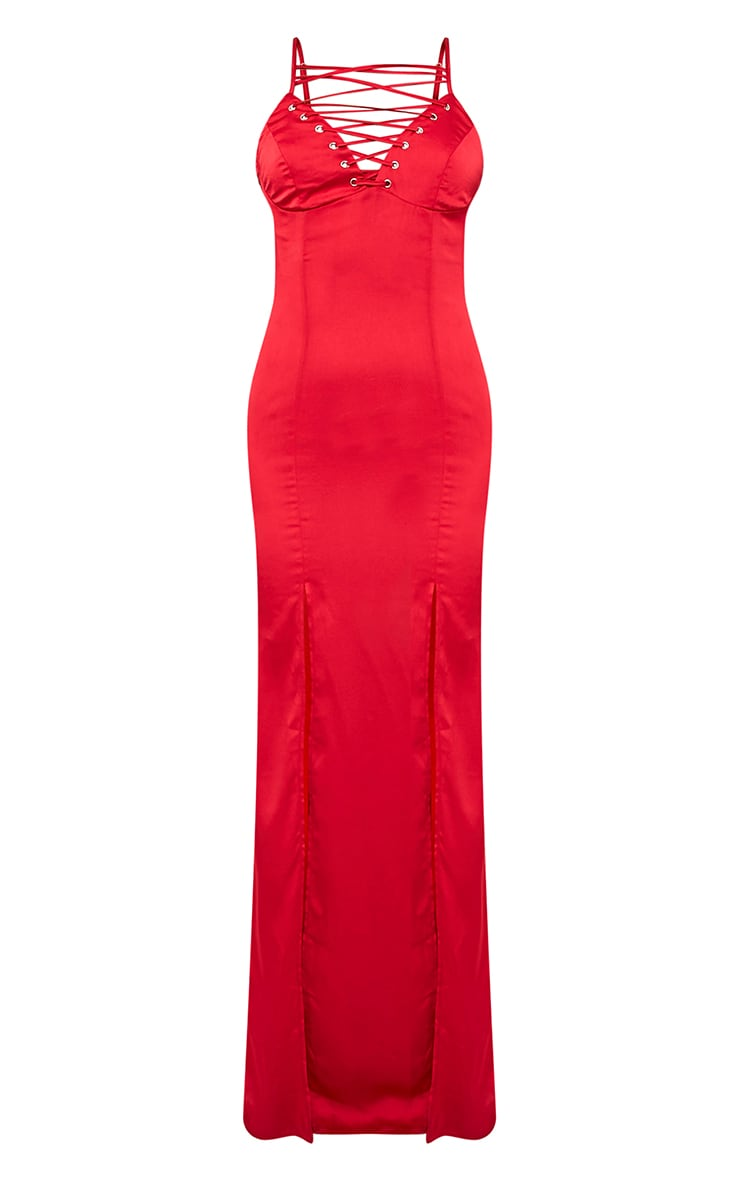 Kiria Red Lace Up Satin Maxi Dress 4