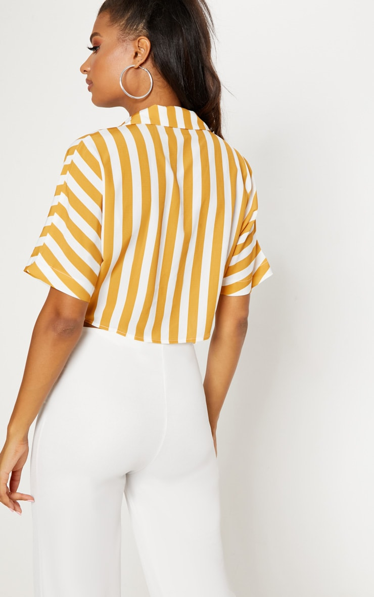 Mustard Stripe Short Sleeve Crop Tie Shirt 2