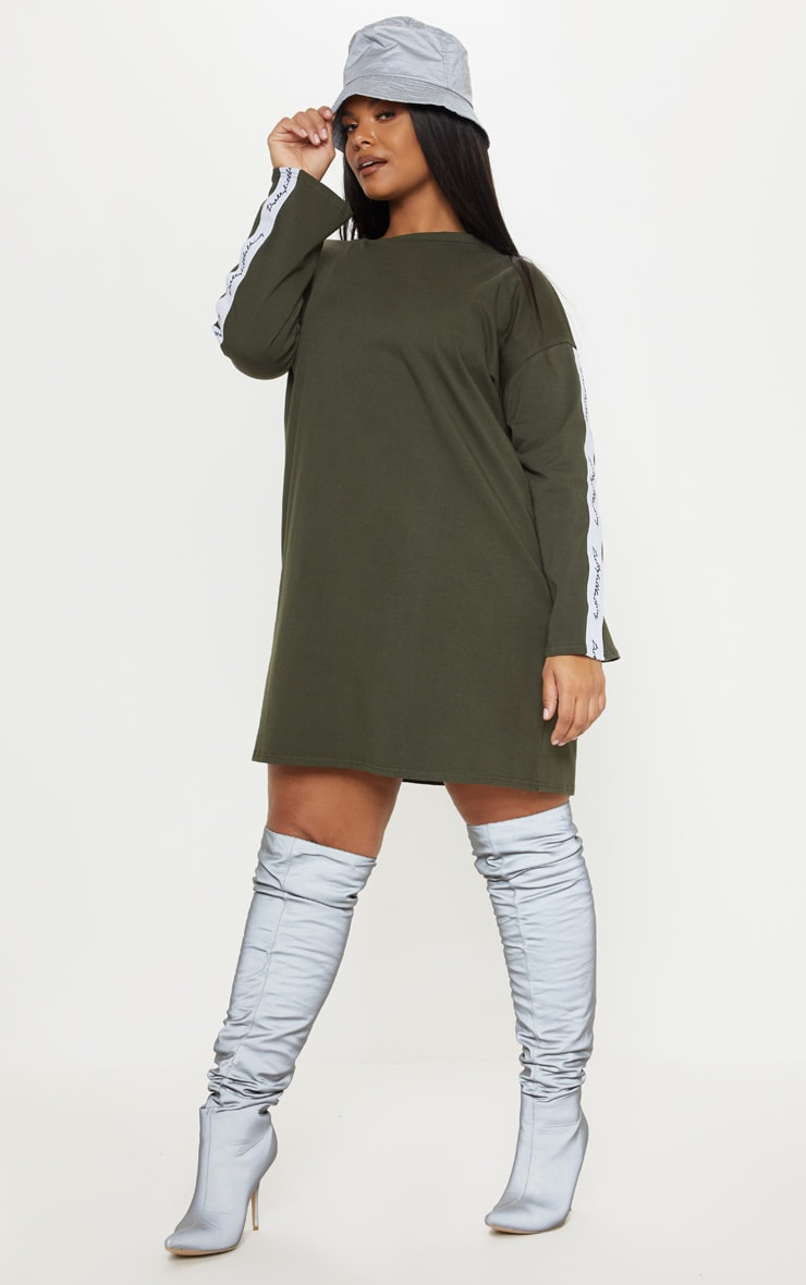 PRETTYLITTLETHING Plus Khaki Tape Long Sleeve T Shirt Dress 4