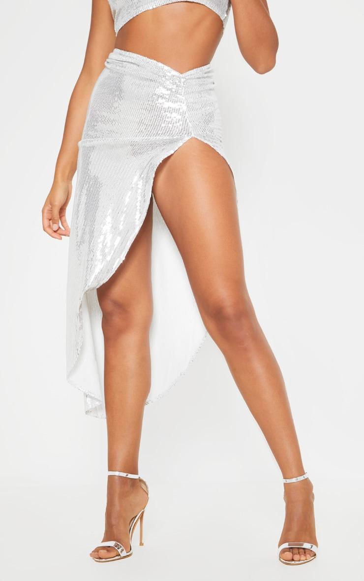 Silver Ruched Sequin Side Split Skirt 2
