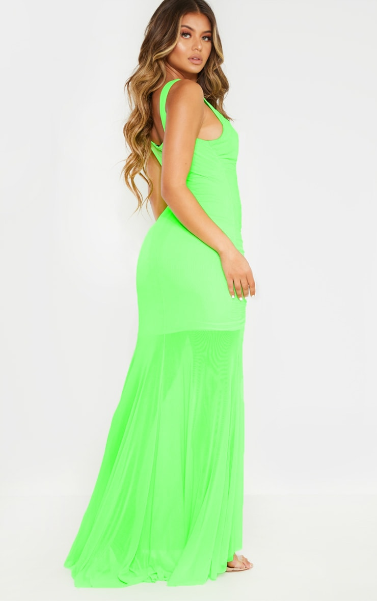 Neon Lime Mesh Ruched Cup Detail Maxi Dress 2