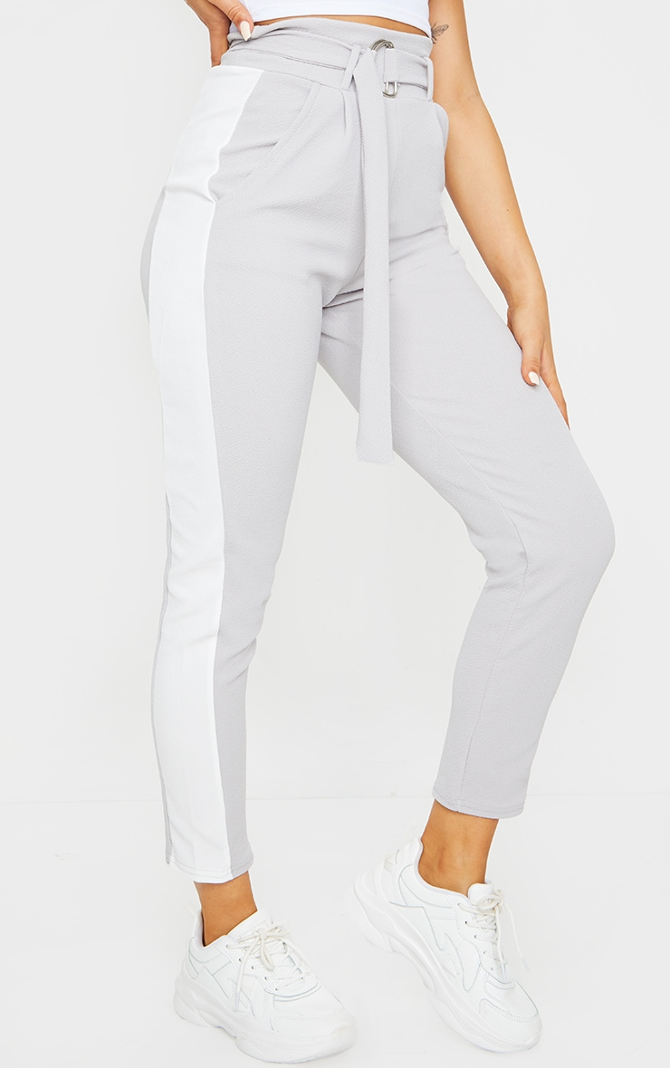 Grey D Ring Contrast Panel Skinny Trousers 2