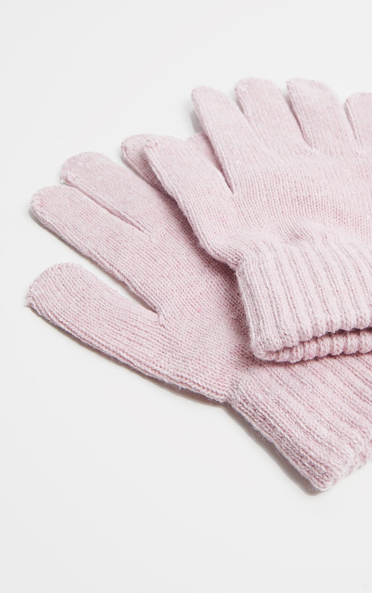 Pink Plain Knitted Gloves  3