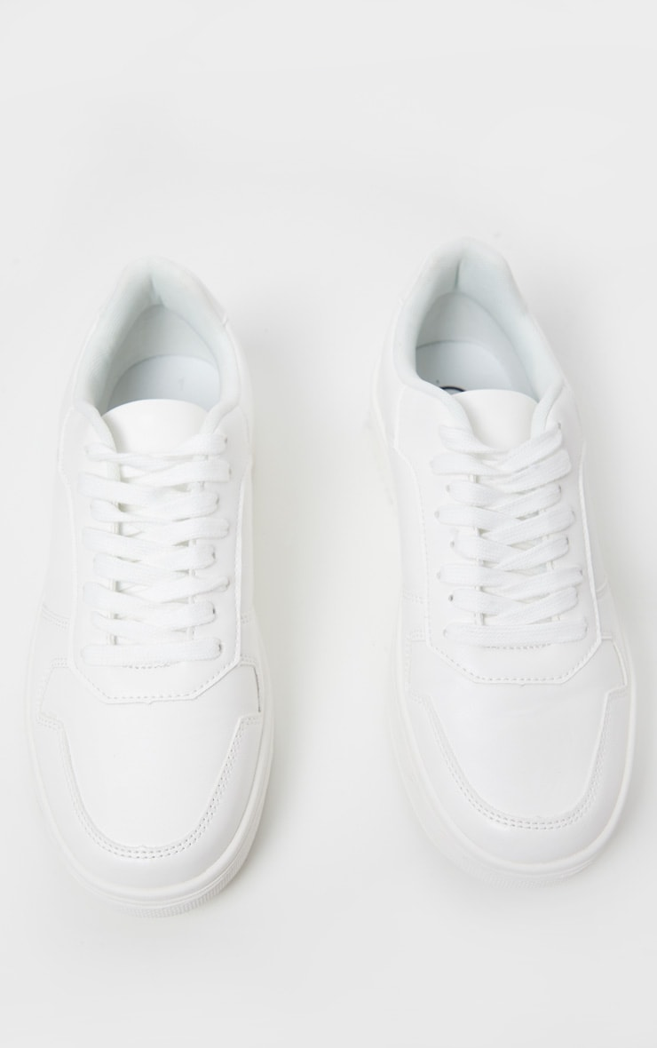 White Lace Up Flatform Sneakers 5