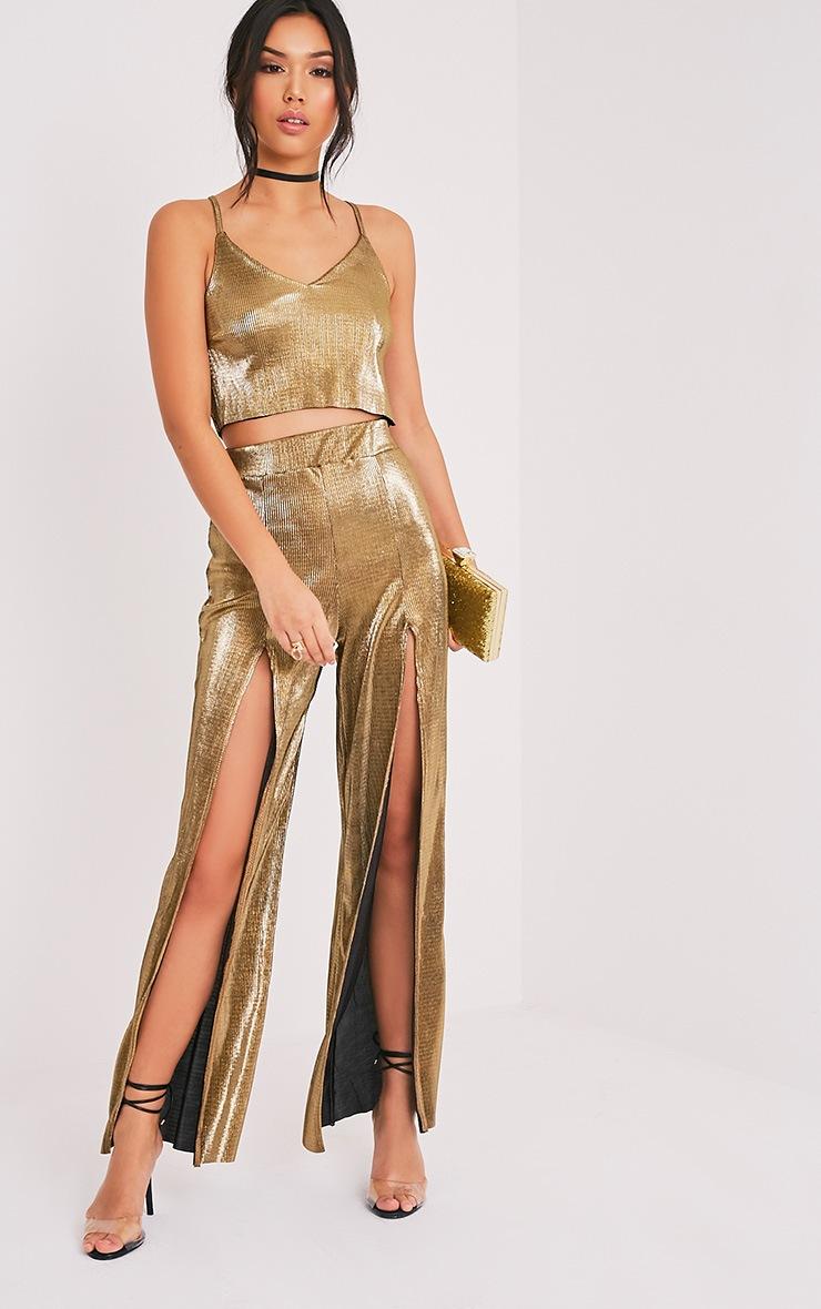 Zayda Gold Metallic Split Front Trousers 1