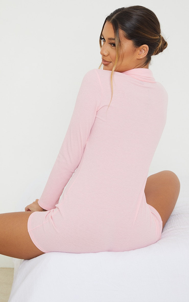 Baby Pink Button Down Rib Romper 2