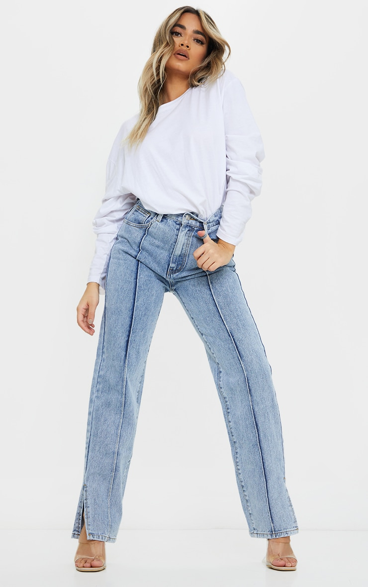 Petite Blue Front Seam Split Hem Denim Jeans 1