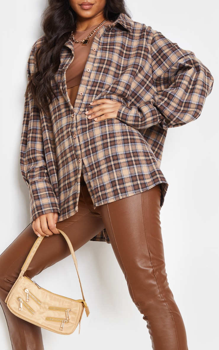Brown Checked Oversized Shirt 5