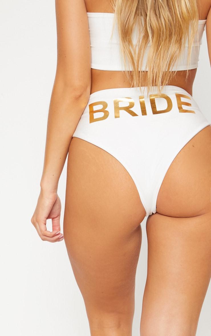 White Bride High Waisted High Leg Bikini Bottom 5