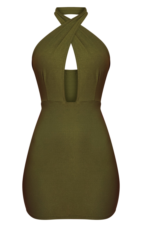 Khaki Cross Neck Bodycon Dress 3