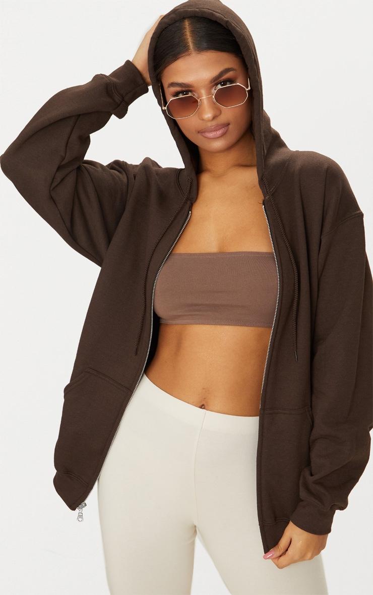 Brown Fleece Zip Hoodie 1