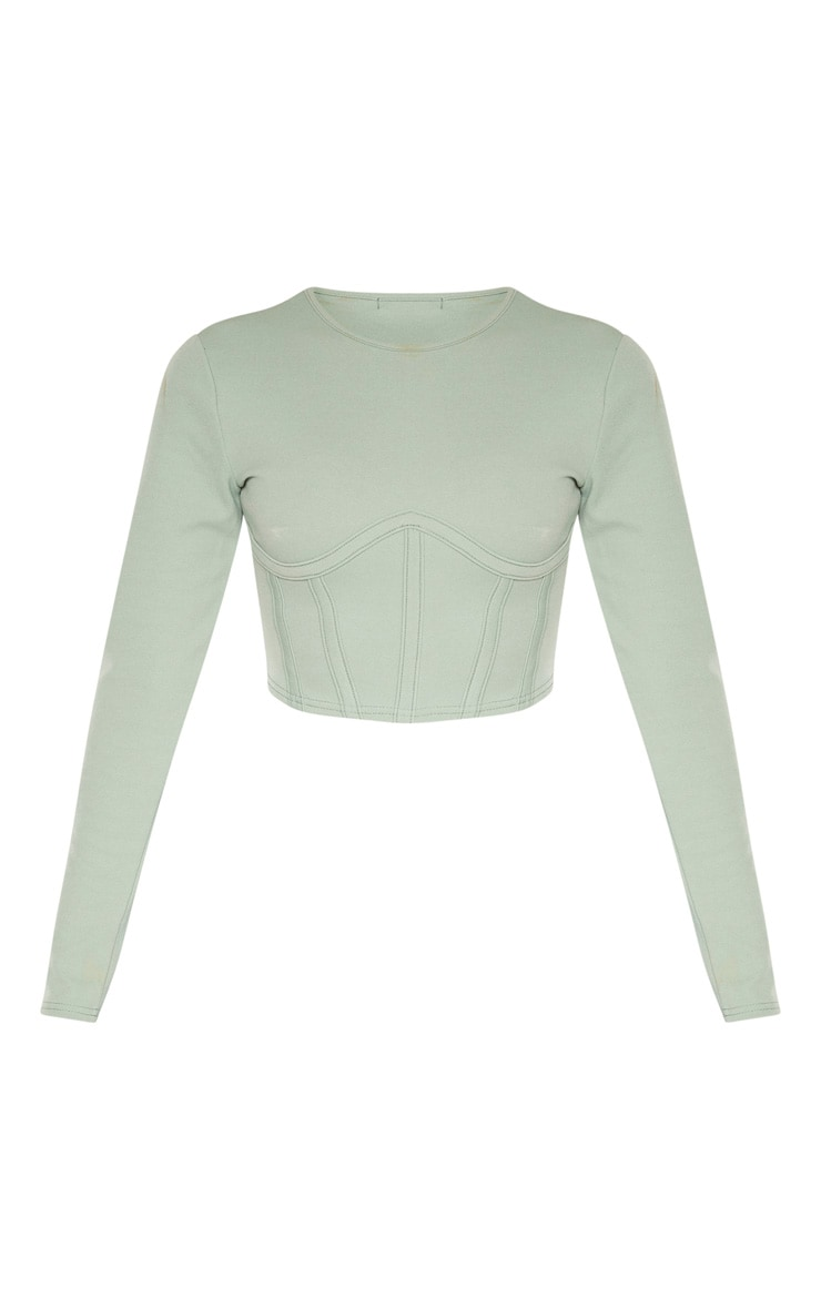 Sage Crepe Structured Underbust Crop Top 3