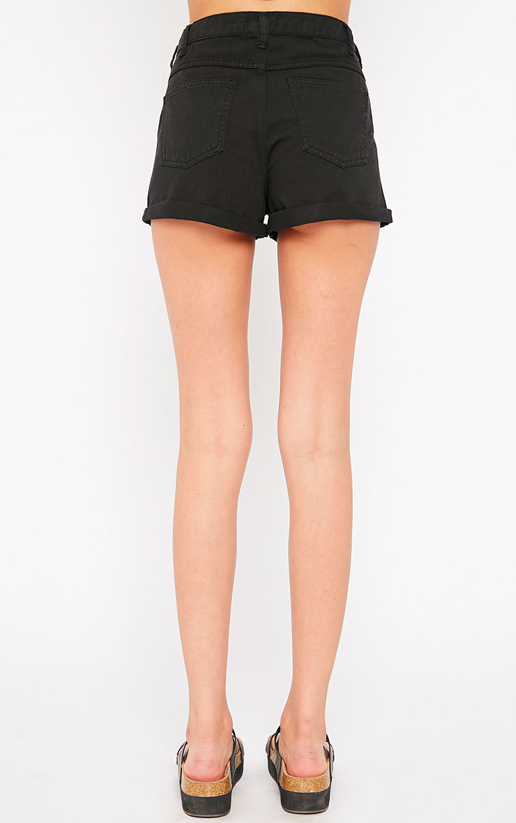 Maslynn Black Plain High Waisted Shorts 4