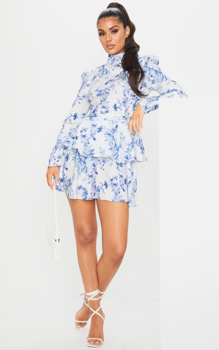 Blue Floral High Neck Tiered Skater Dress 3