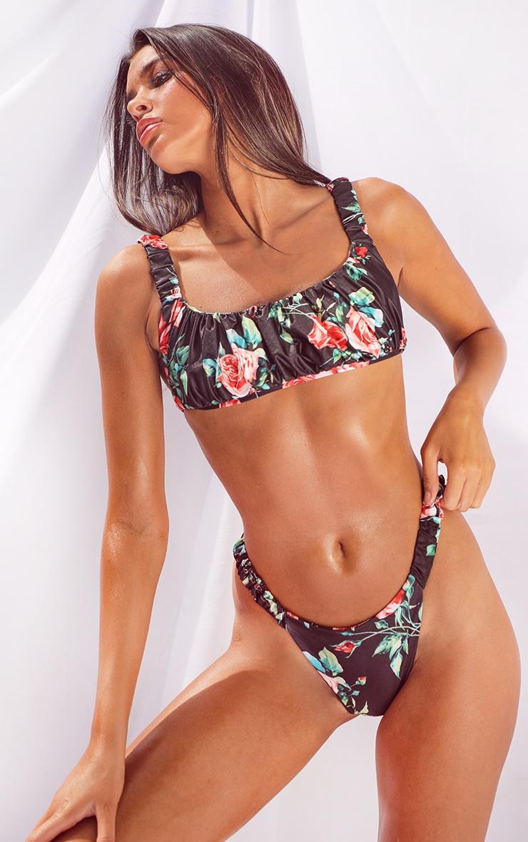 Black Floral Print Ruched Strap Bikini Top 1