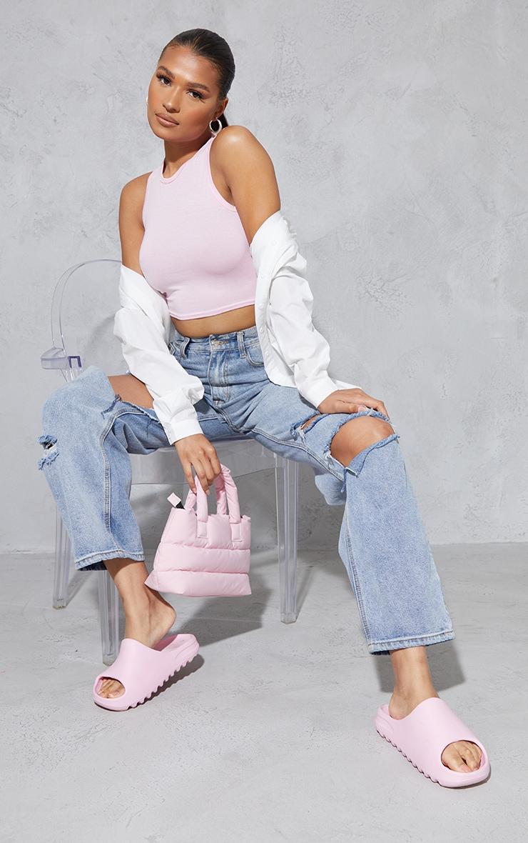 Baby Pink Basic Jersey Racerback Crop Top 3