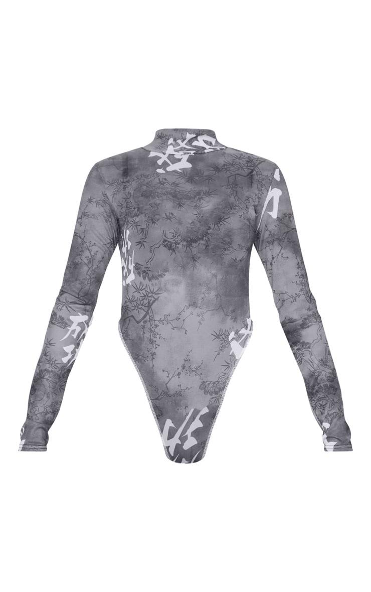 Black Tie Dye Mesh Contrast High Leg Bodysuit 3