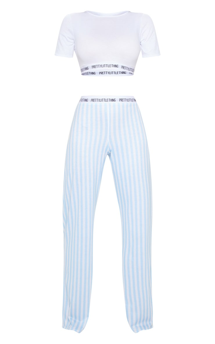 PRETTYLITTLETHING Baby Blue Stripe Pants PJ Set 5