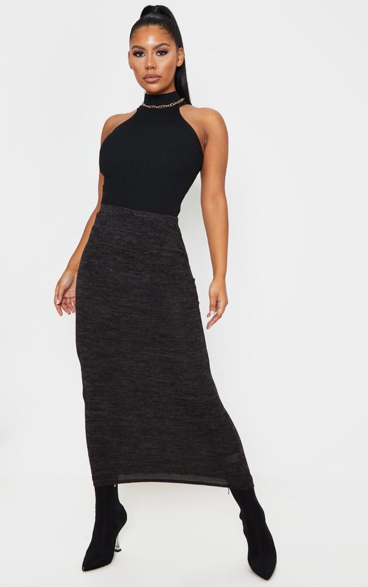 Jupe longue noire style brossé 1