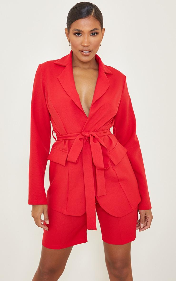 Red Woven Belted Waist Pocket Blazer 1
