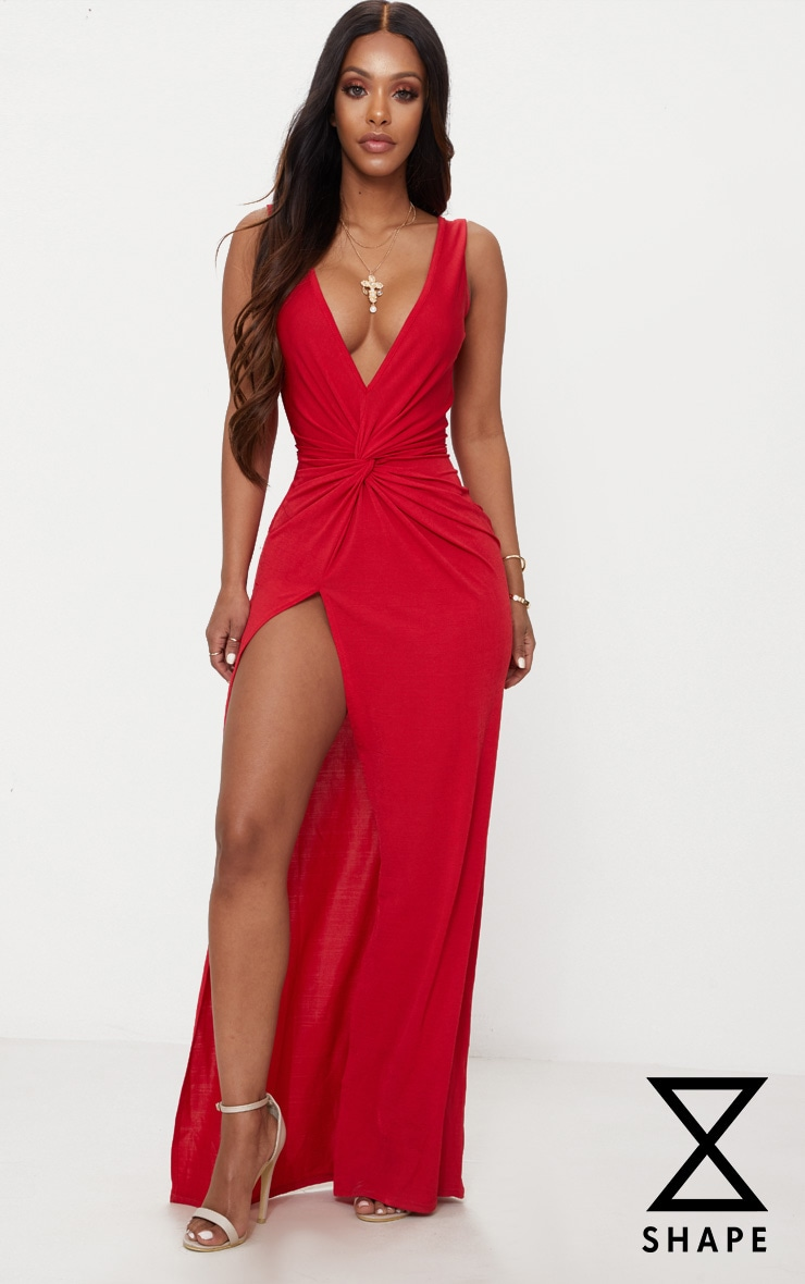 Shape Red Slinky Wrap Detail Maxi Dress 1