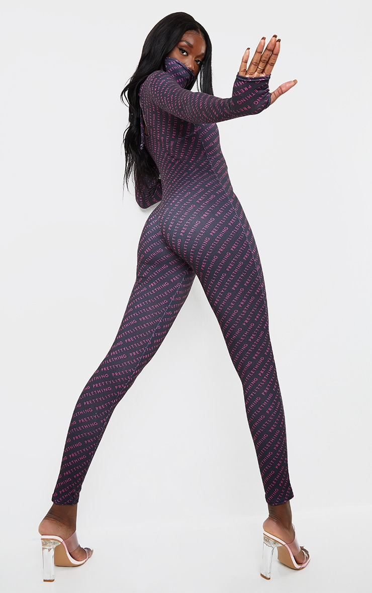 PRETTYLITTLETHING Tall Black Face Mask Jumpsuit 2