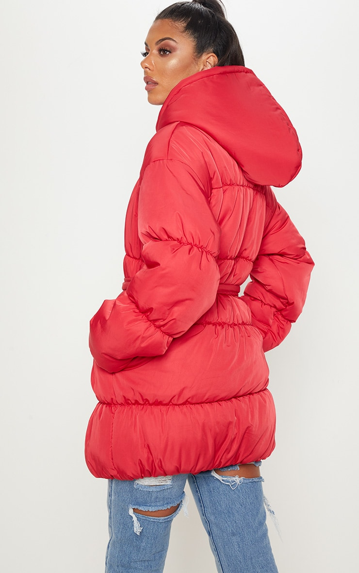 Red Belted Puffer Jacket 2