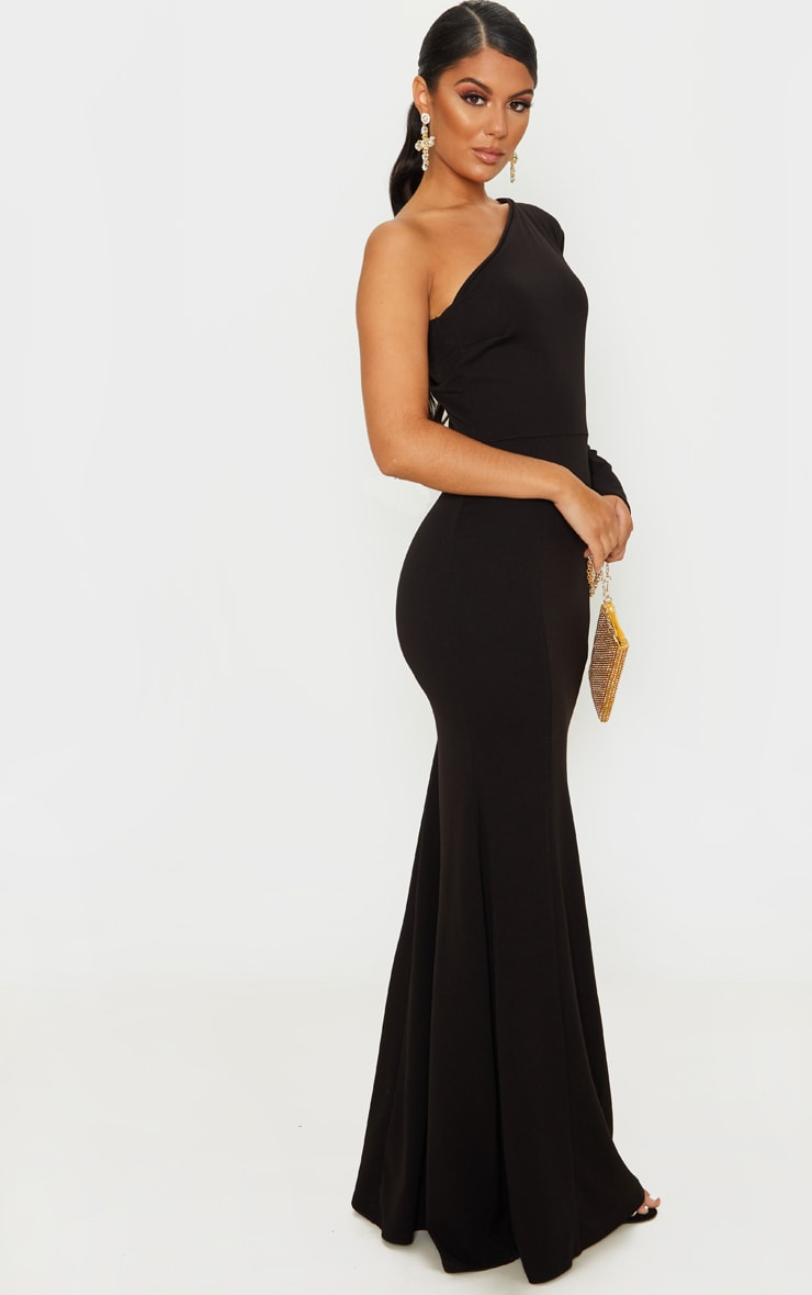 Black One Shoulder Long Sleeve Maxi Dress 4