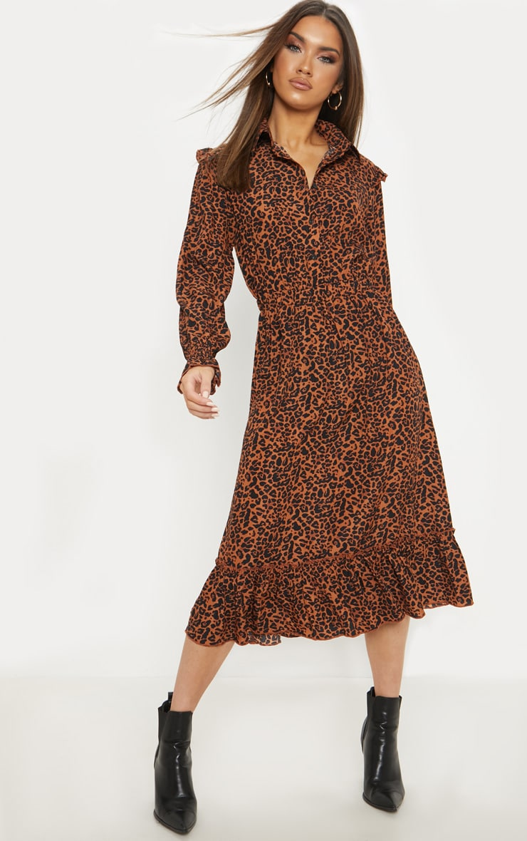 Rust Leopard Print Button Front Frill Midi Shirt Dress 1