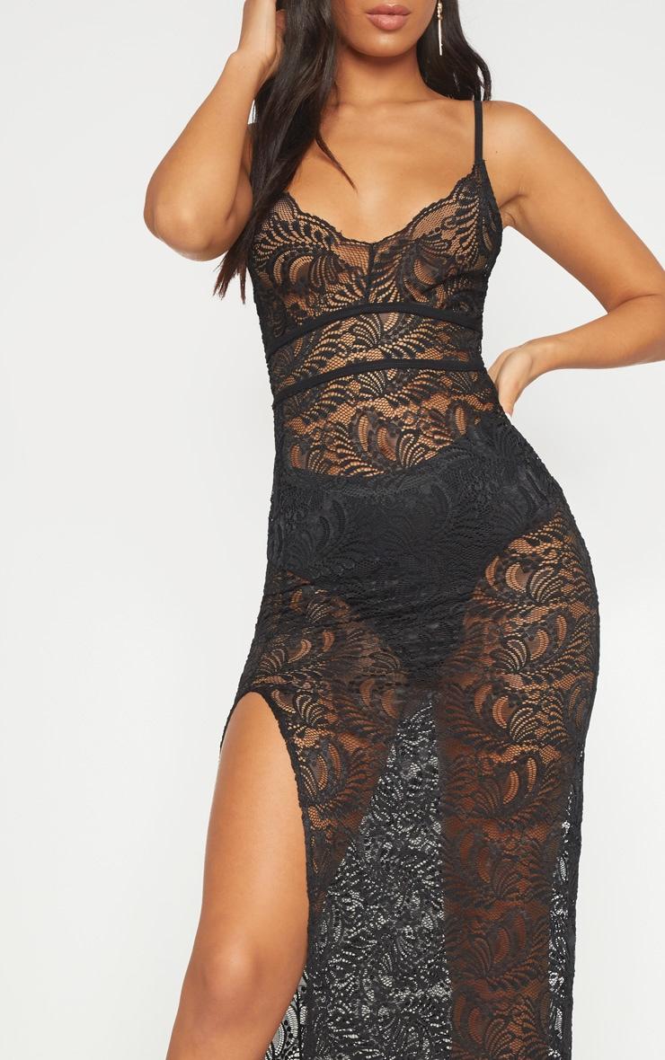 Black Sheer Lace Extreme Split Maxi Dress 5