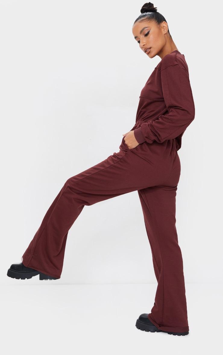 Chocolate Seam Detail Wide Leg Sweat Jumpsuit 2