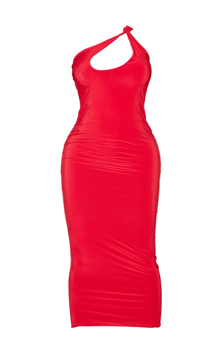 Shape Red Slinky Knot Shoulder Cut Out Midaxi Dress 5