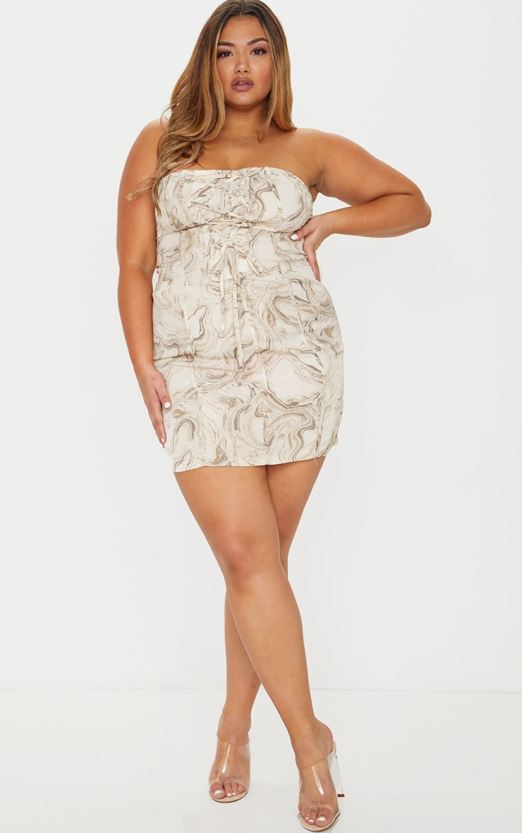 Plus Cream Marble Print Lace Up Bodycon Dress 1