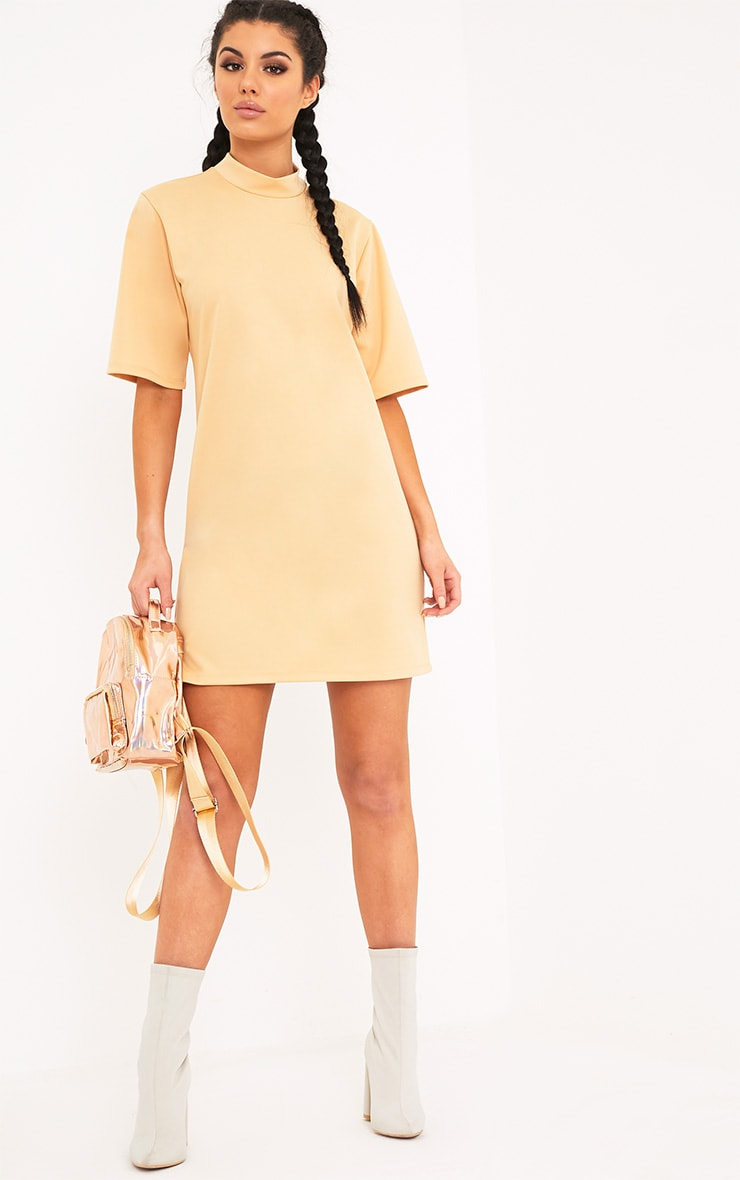 Erennie Buttermilk Scuba High Neck Shift Dress 4