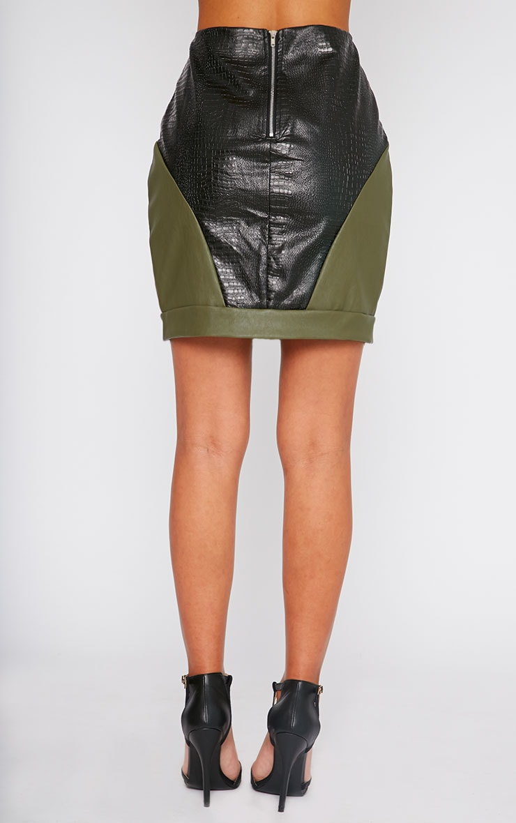 Phay Khaki Leather Panel Mini Skirt 2