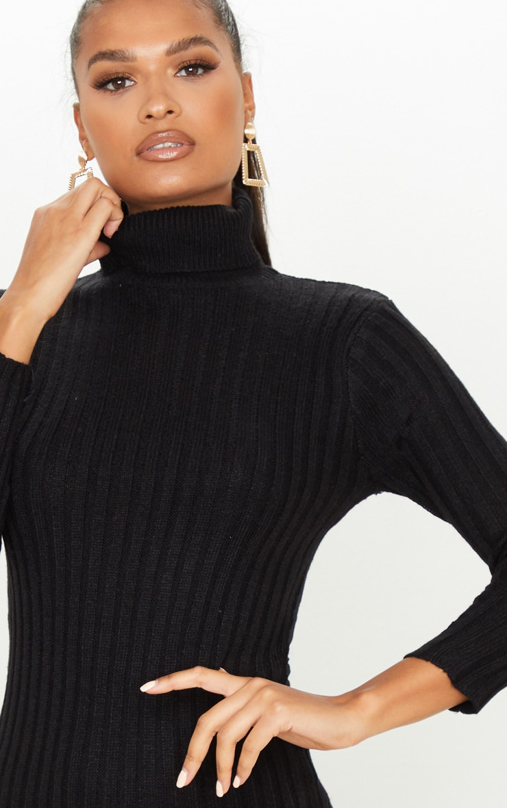 Black Roll Neck Knitted Sweater Dress 5