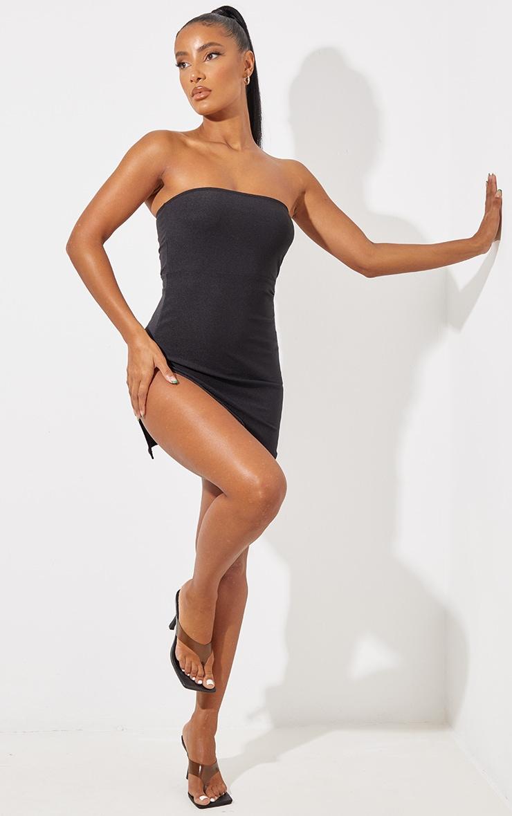 Black Crepe Split Side Bandeau Bodycon Dress 1