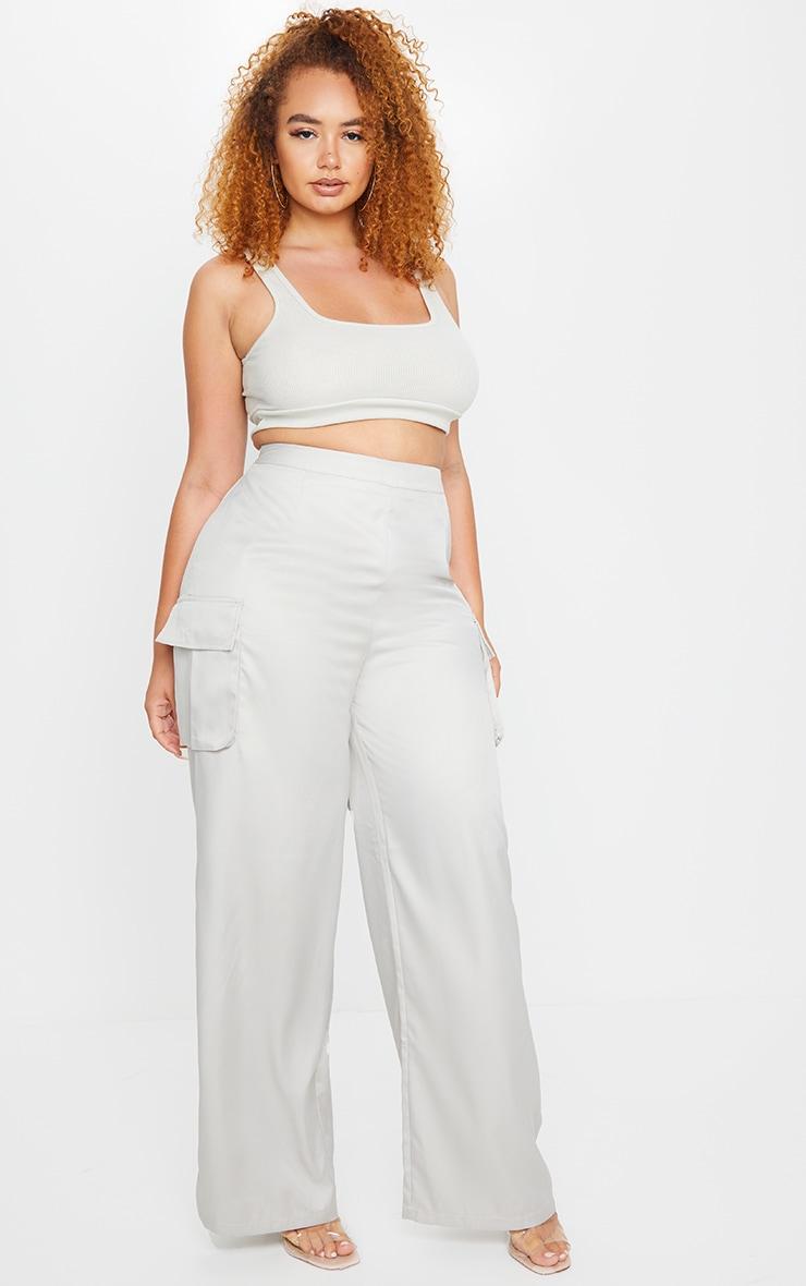PLT Plus - Pantalon en maille tissée grise à jambes évasées et détail poches 1