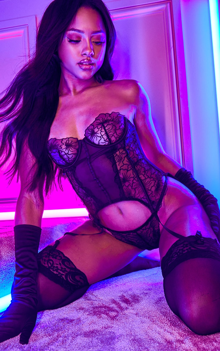 Black Embroidered Mesh Longline Corset And Thong Set 4