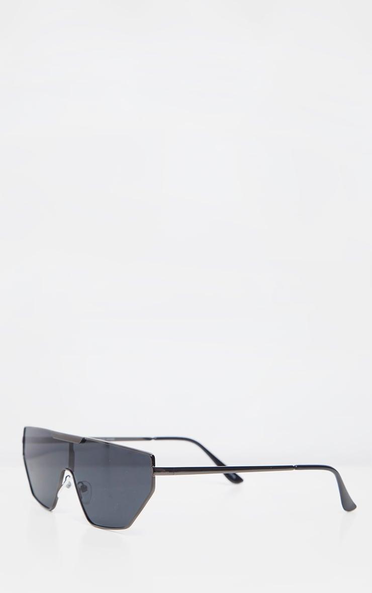Lunettes de soleil noires fines style visière 4